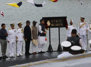 Rajnath Singh commissions indigenously built submarine INS Khanderi to Indian Navy