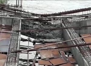 Telangana : Bridge under construction collapses due to heavy rains in Vemulawada