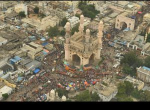 Aerial view of Hyderabad's Ganesha procession on Immersion day