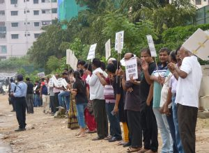 Prajay Megapolis flat owners protest against builder, urge GHMC to act