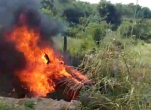 Car catches fire, five burned alive, 1 escapes