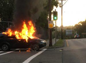 Passengers make narrow escape as car catches fire