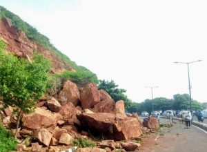 Incessant rains have boulders tumble onto road in Visakhapatnam