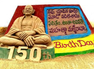 A 'sand' tribute to Mahatma