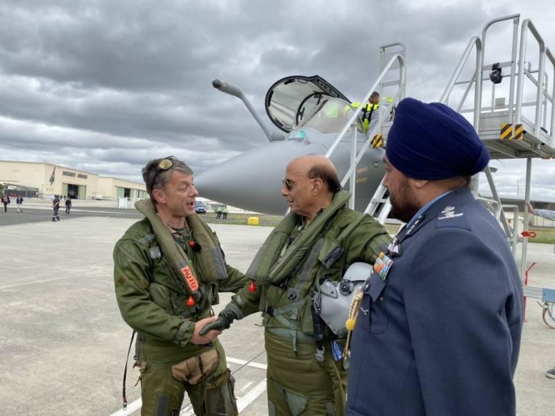 Rajnath Singh Taking a sortie in Rafale
