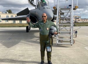 Defence Minister Rajnath Singh taking a sortie in Rafale