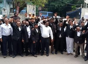 Advocates Protest in Support of Telangana RTC Strike