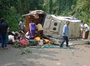 Eight dead and many injured as tourist bus plunges into valley in East Godavari