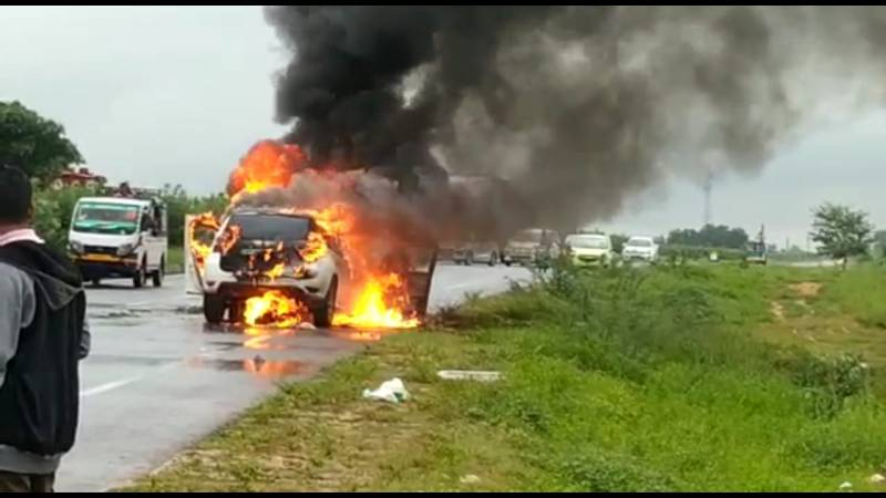 car burnt in collision