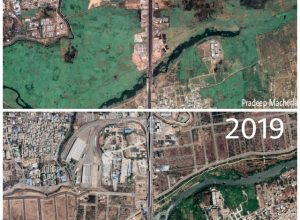 Satellite images show disappearing green land in Hyderabad