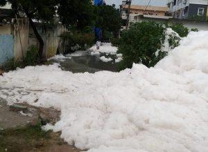 Hyderabad's Pariki Cheruvu spits toxic foam after heavy rains, Dharaninagar residents choke