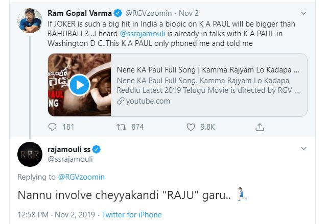 RGV and Rajamouli's Twitter conversation goes viral; PS: it concerns KA Paul