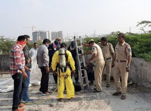 DRF teams removed a dead body from a sump in Kukatpally using modern equipment