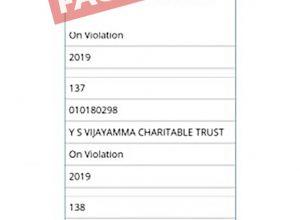 Fact Check: Did Centre ban Y S Vijayamma Charitable Trust?
