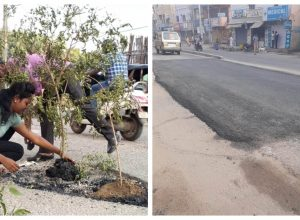 Unique protest by Hyderabadi's solves pothole issue in 24 hours