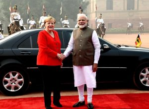 German Chancellor Angela Merkel at Rasthrapathi Bhavan