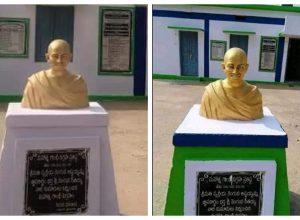 Janasena, YSRCP and TDP's Twitter war over painting Gandhi pedestal