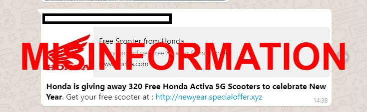 Fact Check: Is Honda giving away 320 Activa 5G scooters for New Year?
