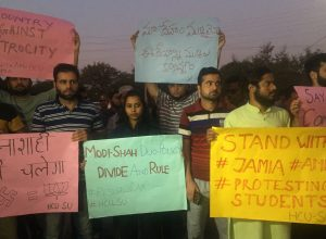 Hyderabad University students burnt copies of Citizenship Amendment Act in solidarity with Jamia Millia protests