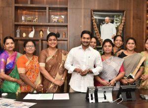 Woman MLAs share sweets with Jagan for bringing Disha act