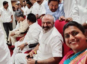 Amidst capital uproar, Roja & Balakrishna captured taking a selfie