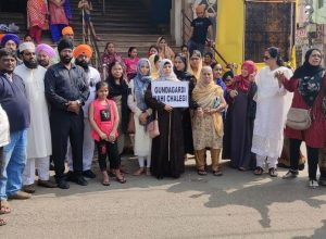 Sikhs in Hyderabad protest at Keyes high school against attack on Nankana Sahib