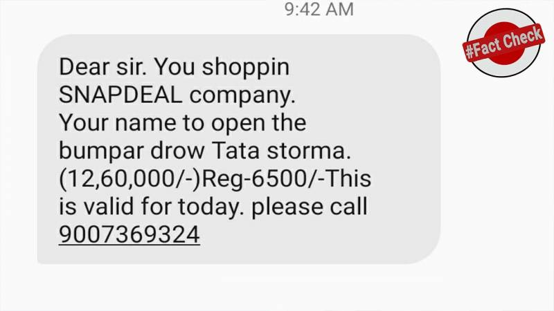 Fact Check: Snapdeal is not giving away Tata Strome car