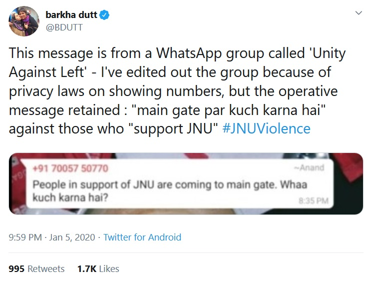Barkha Dutt decodes JNU attack; results lead to Jio number from Northeast.