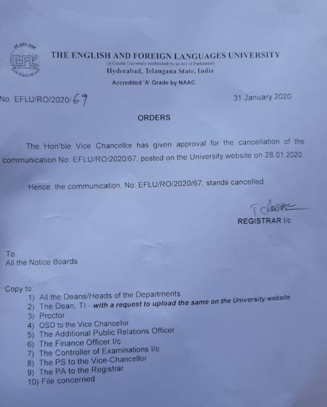 Eflu student protest vc roll back circular
