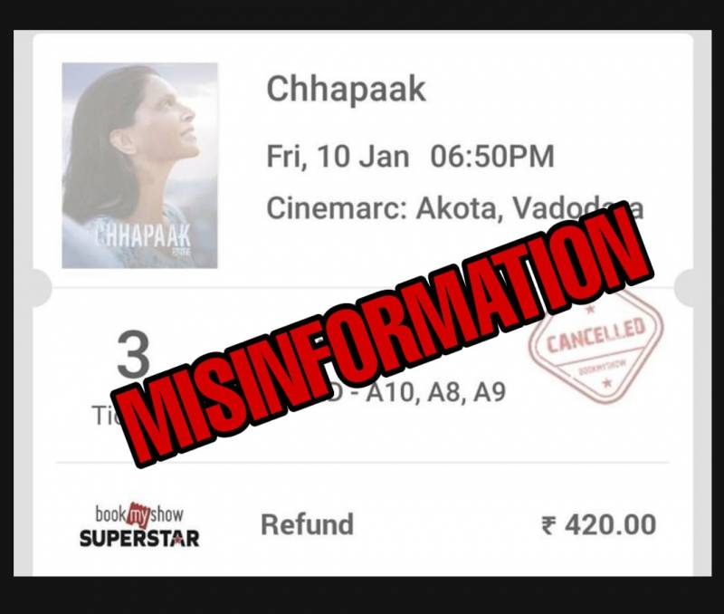 Fact Check: Did too many people actually cancel their Chhapaak ticket?