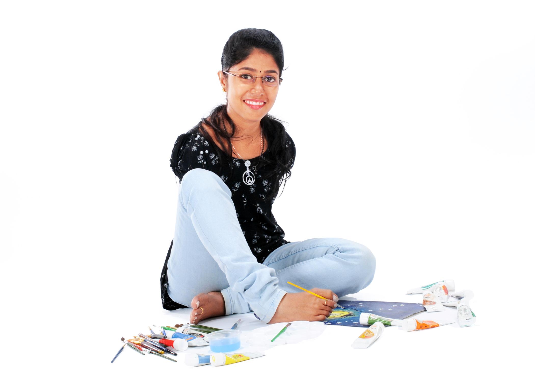 Happy feet: Kerala painter creates magic with her toes