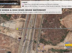 Satellite reveals blatant occupation of Puppulguda water body by Pride Honda, HMDA clueless
