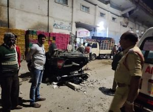 One killed, five injured after car jumps from Bharath Nagar flyover