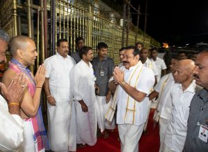 Rajapaksa offers prayers to Lord Venkateswara at the Tirumala