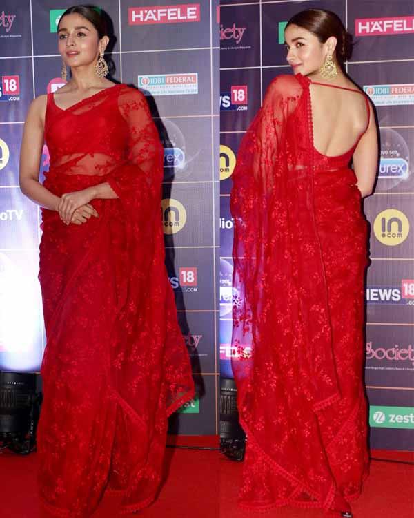 alia bhatt in red saree