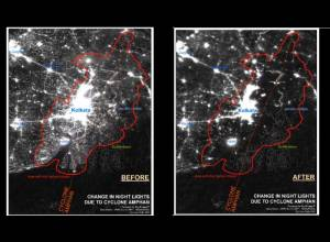 Satellite images show Kolkata, Bangladesh without electricity 72 hours after Amphan