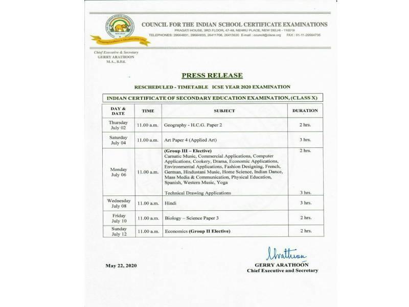 Class Ten ISC timetable