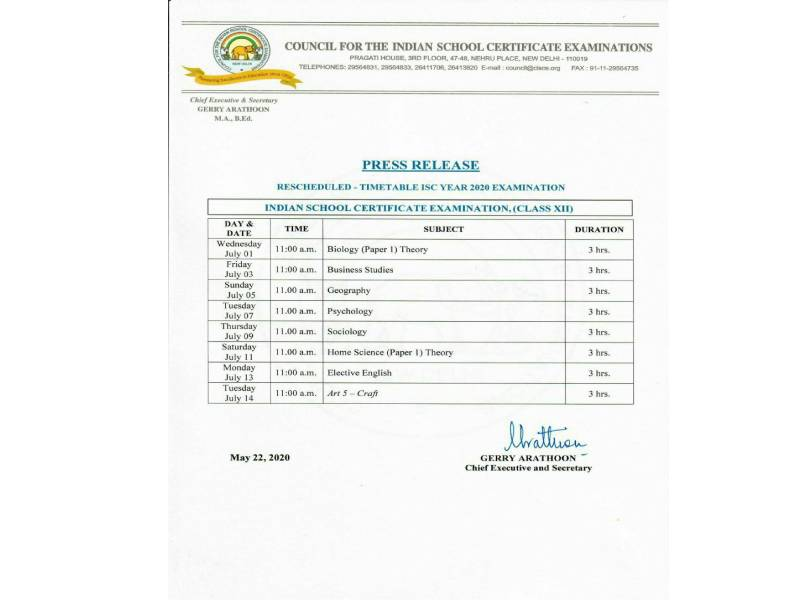 Class 12 timetable isc