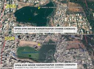 Satellite data reveal open-air gym slab was laid inside FTL boundary of Ramantapur Chinna Cheruvu