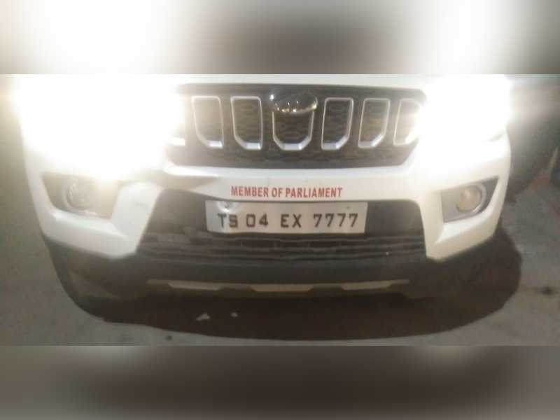 Man driving SUV with MP sticker caught on camera pointing gun at Madhapur