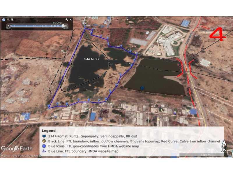 Satellite images reveal Gopanpally residential complexes encroached Komati Kunta Lake