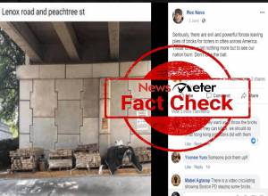 Fact Check: Tweets claiming piles of bricks placed by evil elements at Peachtree Road are false