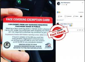 Fact check: Face mask exempt card in circulation on social media in the US is FALSE