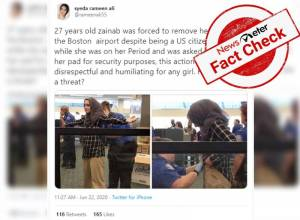 Fact Check: Two-year-old news of Zainab Merchant forced to show blood-stained sanitary pad at Boston airport resurfaces