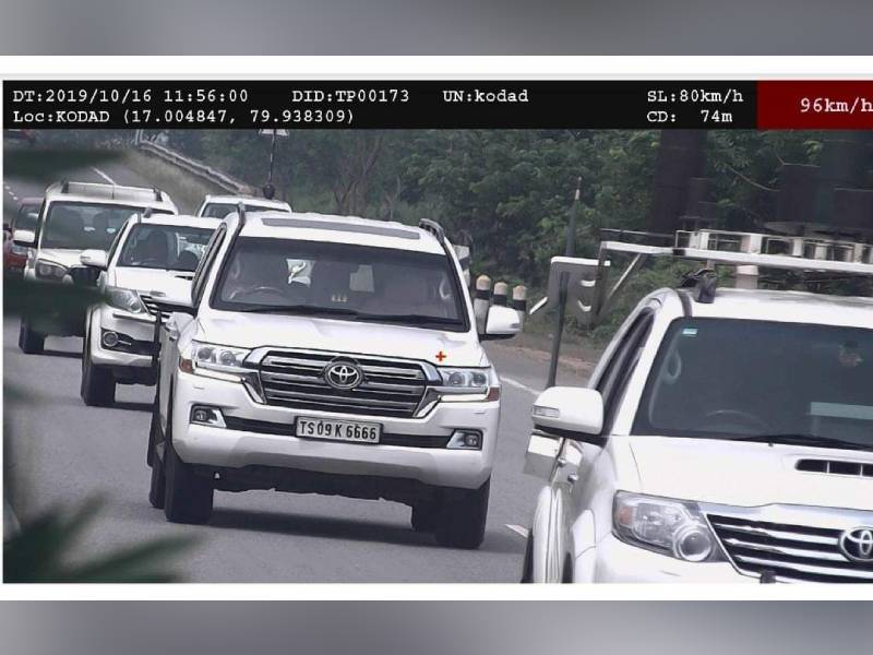 Speeding car in Chief Minister KCR's convoy fined Rs 4000
