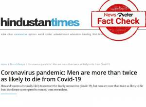 Fact Check: HT report claiming men are twice likely to die from Covid is misleading
