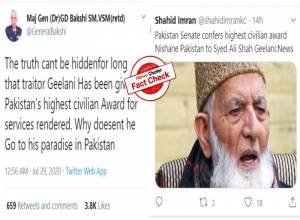 Fact Check: Twitter posts saying Geelani was conferred the highest civilian award of Pakistan are MISLEADING