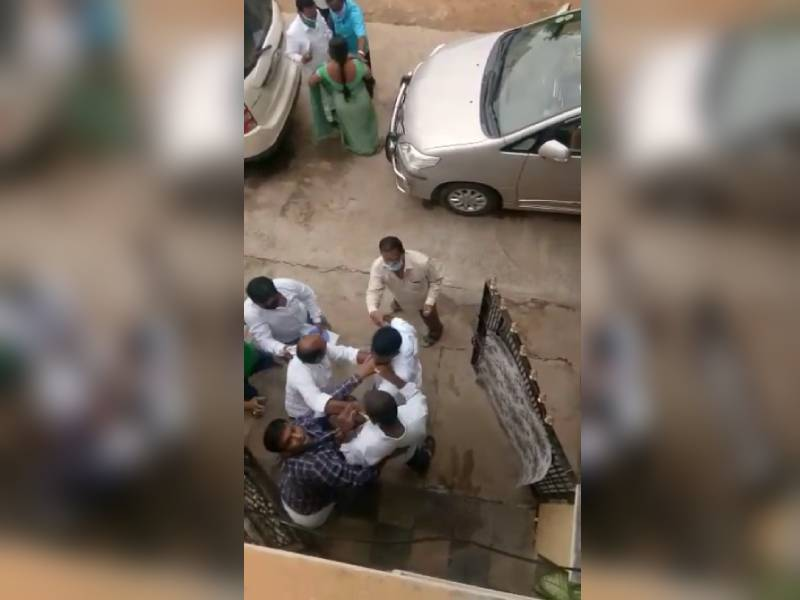 TRS corporators husband 7 hench men booked for attacking a man