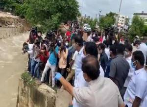 KTR, Health Minister Etala Rajendra conduct aerial survey of flood affected Warangal