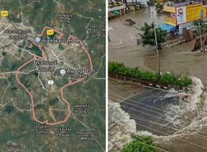 Satellite images reveal increased water levels and flood-like situation at Warangal